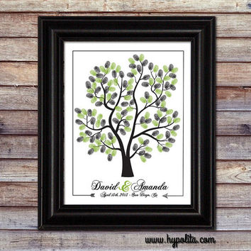 Wedding Tree - Guestbook Alternative - Thumbprint Tree - Personalized Wedding Poster - 16x20