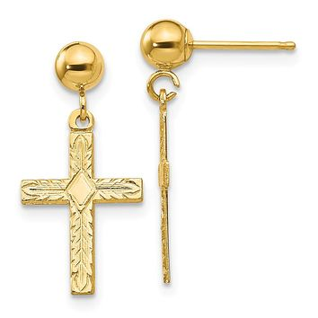 14k Yellow Gold Polished & Textured Cross Earrings - Religious Jewelry