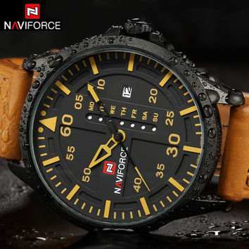 NAVIFORCE Luxury Brand Date Japan Movt Men Quartz Casual Watch Army Military Sports Watch Men Watches Male Leather Clock 2016
