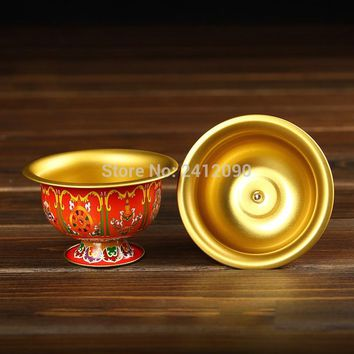 Red Buddhism Meditation Holy Cup Tibetan Metal Buddha Bowl Retro Gilt Copper Bowls Buddhist Religion Supplies Water Cup Figurine