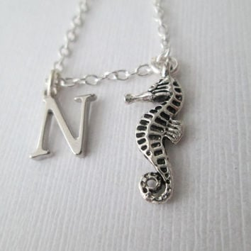 Tiny Seahorse, Initial Necklace