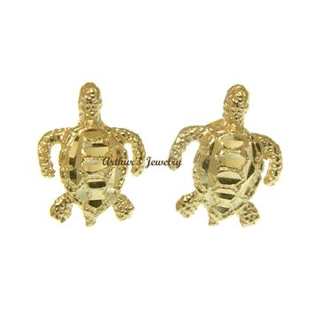 SOLID 14K YELLOW GOLD DIAMOND CUT HAWAIIAN SEA TURTLE HONU STUD POST EARRINGS