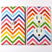 MADE WHEN ORDERED: Rainbow Bright Chevron Stripes Pride Home Decor Light Switch Plate and Outlet Cover Set
