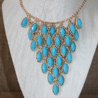 Turquoise Oval Statement Necklace
