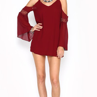OFF THE SHOULDER BABYDOLL LACE DRESS - BURGUNDY