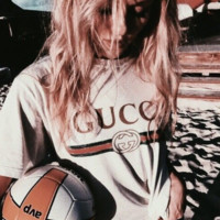 """Gucci""Hot letters print T-shirt top white"