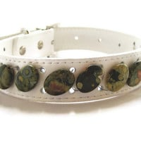 Large White Leather Beaded Dog Collar with Beautiful Green Patterned Rhyolite Stone Beads