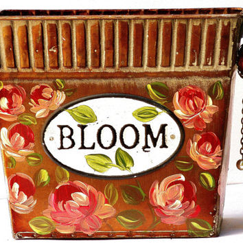 Hand Painted Decorative Tin Pink Roses Romantic Victorian Decor FREE SHIPPING