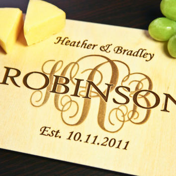 Personalized Wood Monogram Cheese Cutting Board Engraved ~ Wedding, Engagement, Anniversary, Mothers Day, Birthday Gift, Cheese, Christmas