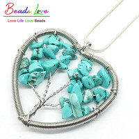 Handmade Life Tree Pendant Heart Natural Blue Turquoise Gravel Stone Pendant Necklaces Length: 70cm 27inches-F00400