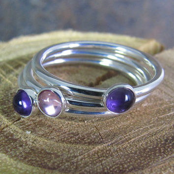 Simple Argentium Sterling Stack Ring Set