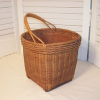 Vintage Woven Basket Bamboo with Handle by 4oldtimesandnew on Etsy