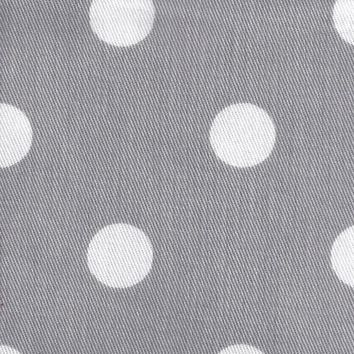 White on Gray Polka Dot Twill Fabric by the Yard | 100% Cotton