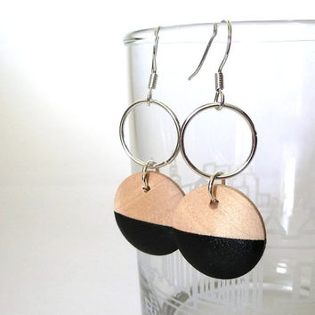 Black wood dangle earrings, painted wood earrings, circle earrings, disc earrings, geometric earrings, dipped wood