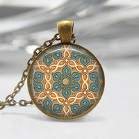 Moroccan Pendant Moroccan Necklace Glass Photo Pendant Glass Picture Pendant Blue Pendant Eastern Pendant Moroccan Charm 30