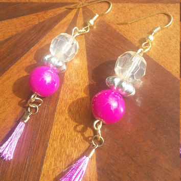 Pink and clear beaded dangle drop earrings with tiny pink tassels