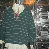 Mystery Hipster SWEATER and SHIRT Outfit patterned mix match tops Plaid Floral Stripes