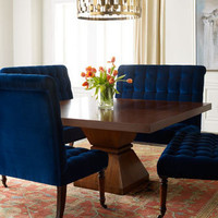 "Barclay Butera Lifestyle Vanguard ""Tribeca"" Dining Table & Barclay Butera Lifestyle ""Sapphire"" Banquette - Horchow"