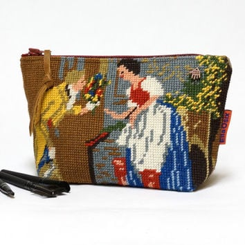 Makeup Bag | Needlepoint Cosmetic Bag | Zipper Pouch | Handmade by EllaOsix