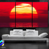 """LARGE 30""""x 60"""" 3 Panels Art Canvas Print Beautiful Huge Sunset Beach ocean sun Red Yellow  Wall Home (Included framed 1.5"""" depth)"""