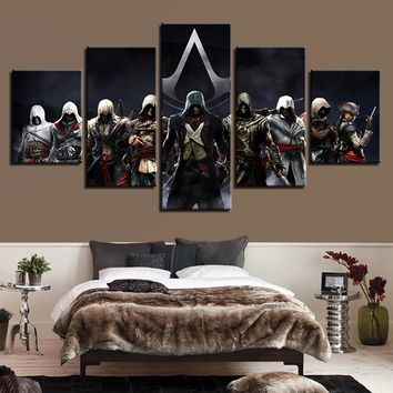 Home Decor Print Painting Modular Vintage Character Art Canvas 5 Panel Movie Assassins Creed Wall Picture For Living Room Poster
