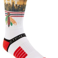 Men's STRIDELINE 'Chicago Blackhawks - White Feather' Socks - White