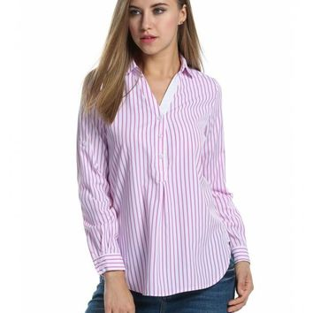 Pink Women's Stripes Roll Up Sleeve High-Low Hem Casual Loose Shirt