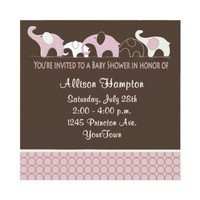Pink on Brown Elephant Baby Shower Invitations from Zazzle.com