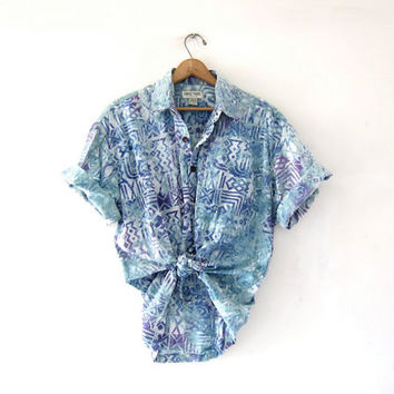 Vintage Tribal Print Shirt. Oversized Pocket Tee Shirt. Button Up Tshirt. Beach Shirt.