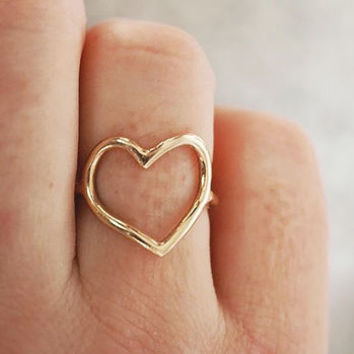 My Heart Is Open Gold Ring