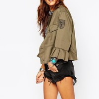 Milk It Vintage Military Shirt With Frill Sleeves