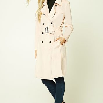 Faux Suede Belted Coat