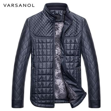 Winter Warm Jacket Men Bomber Casual Leather Jacket Stand Collar Slim Zipper With Pocket Long Sleeve Outwear