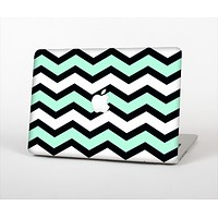 The Teal & Black Wide Chevron Pattern Skin Set for the Apple MacBook Pro 13""