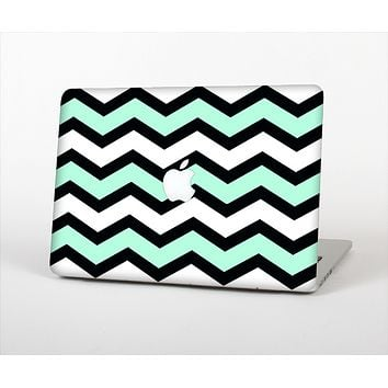 The Teal & Black Wide Chevron Pattern Skin Set for the Apple MacBook Air 13""
