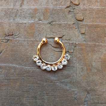 Cute Small Fake Rhinestone Nose Ring, Tribal Gold Faux Septum Piercing