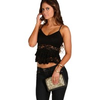 Sale-black Lace Peplum Crop Top