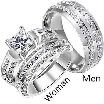 His & Hers Stainless Steel & Titanium Wedding Ring Sets