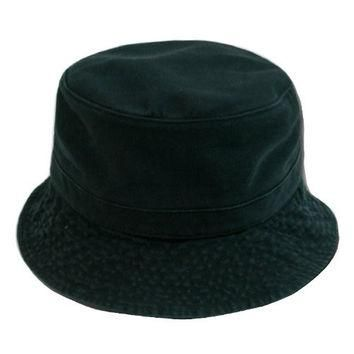 Decky Cotton Unstructured Polo Style Floppy Bucket Hat (Large/XL, Black)