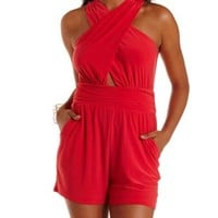Poppy Red Ruched Crossover Romper by Charlotte Russe