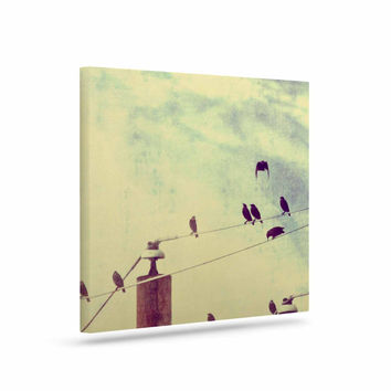"Sylvia Coomes ""Vintage Birds On A Wire 1"" Brown Vintage Canvas Art"