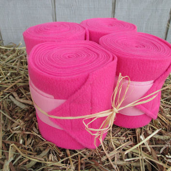 Set of 4 Polo Wraps for Horses- Hot Pink with Pink Velcro Closure