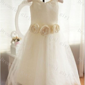 Ivory tulle with flower sash flower girl dress High quality