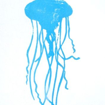 LINOCUT PRINT - Jellyfish LETTERPRESS light blue poster 8x10