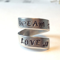 Dream Sing Love Twist Ring Music Note Inside  Adjustable Aluminum Wrap Ring