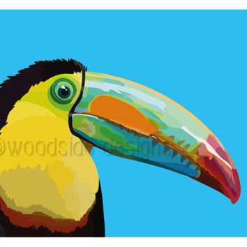 Printable Toucan Illustration, Abstract Toucan Print, Downloadable Art, Tropical Bird Art, Bird Print, Printable Wall Art, Bird Illustration