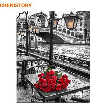 CHENISTORY 40x50cm Rose DIY Painting By Numbers Kits Acrylic Picture Hand Painted Oil Painting On Canvas For Wall Art Picture