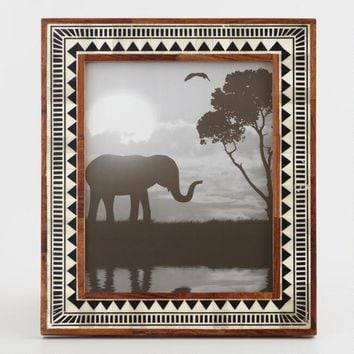 Black and White Triangle Mud Cloth Bone Frame