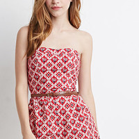Belted Paisley Print Romper
