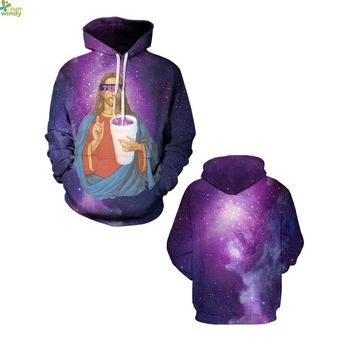 Purple Psychedelic Galaxy Hoody Punk Sweatshirts Jesus Print Skateboarding Hoodies Autumn Loose Pullovers Winter Womens Sweaters